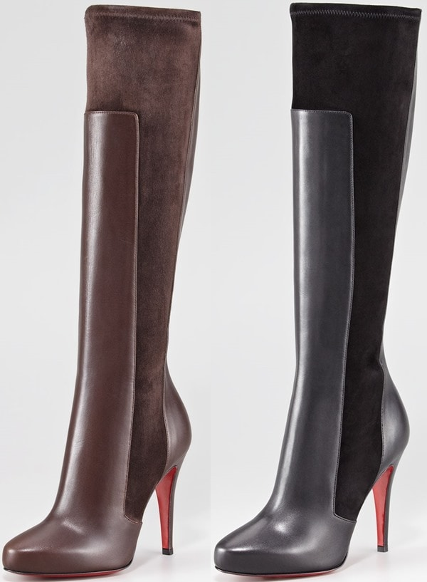 Christian Louboutin 'YSA' Mixed-Media Tall Red Sole Boot