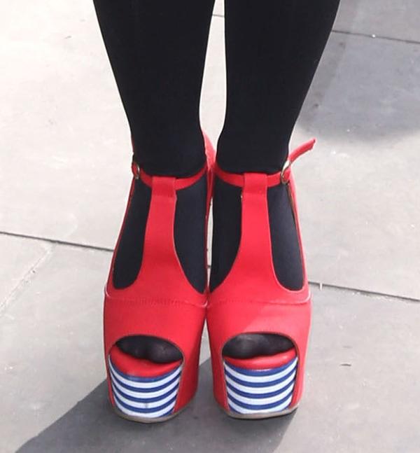 Dani Harmer rocks Jeffrey Campbell 'Foxy' platform sandals