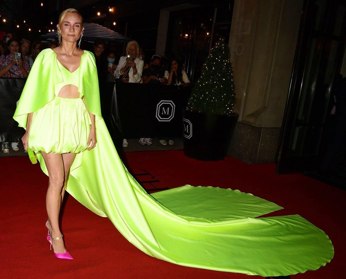 Diane Kruger in a Prabal Gurung dress, Jimmy Choo heels, and Tasaki jewelry at the 2021 Met Gala