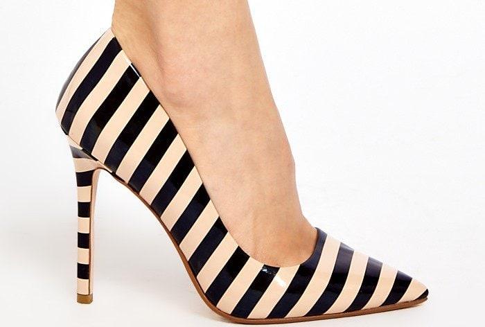 Dune Black Benefit Striped Court Shoes