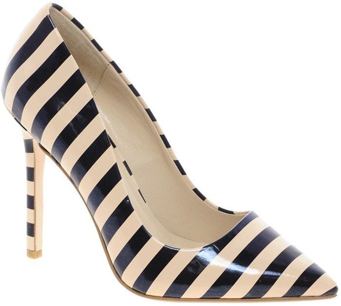 Dune Black Benefit Stripy Court Shoes