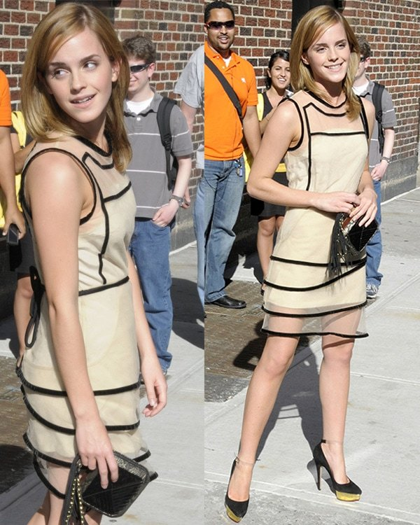 Emma Watson outside the Ed Sullivan Theatre for the 'Late Show With David Letterman' New York City, USA