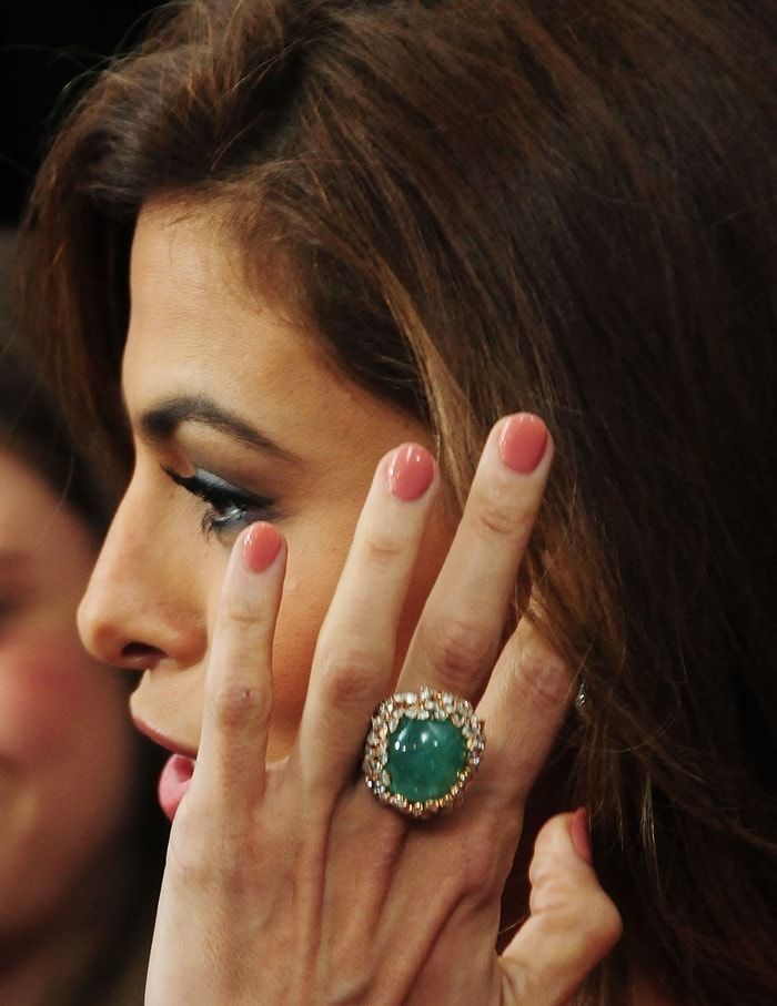 Eva Mendes accessorized with rings by Lorraine Schwartz