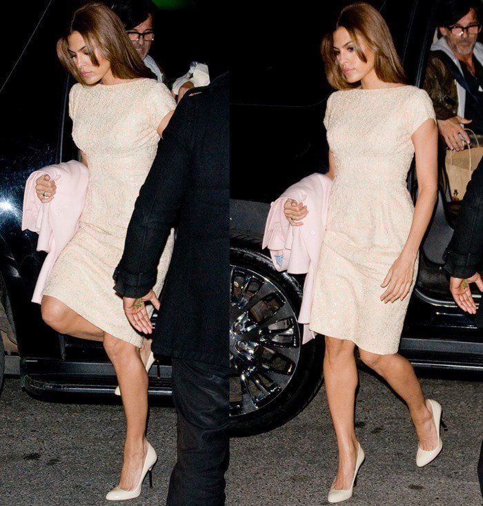 Eva Mendes wearing a form-fitting dress and polished heels in Manhattan on March 27, 2013