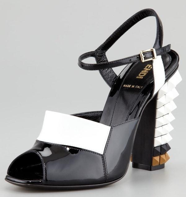 Fendi Patent Pyramid Stud High-Heel Sandal, Black:White $1065.00