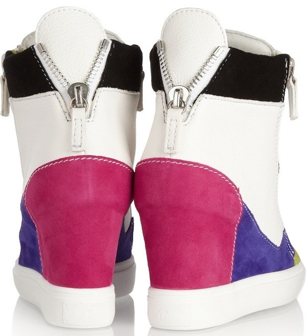 GIUSEPPE ZANOTTI Lorenz leather and suede wedge sneakers $725 Heel