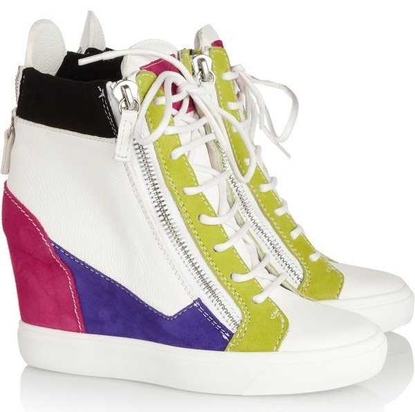 GIUSEPPE ZANOTTI Lorenz leather and suede wedge sneakers $725