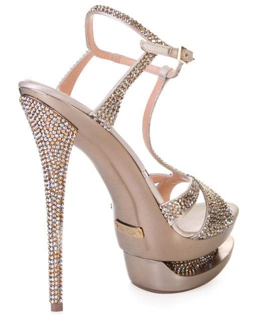 Gianmarco Lorenzi Golden Rhinestones Embellished Heel Sandals