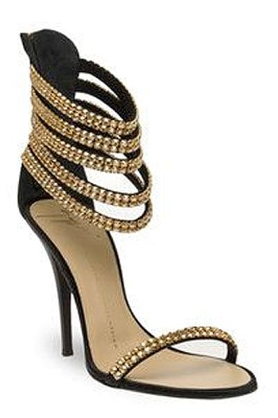 Giuseppe Zanotti Spring 2011 Gold-Chain-Embellished Ankle-Strap Sandals