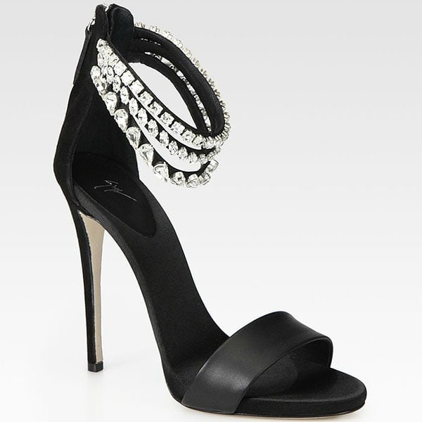 Giuseppe Zanotti Crystal-Encrusted Ankle-Strap Sandals