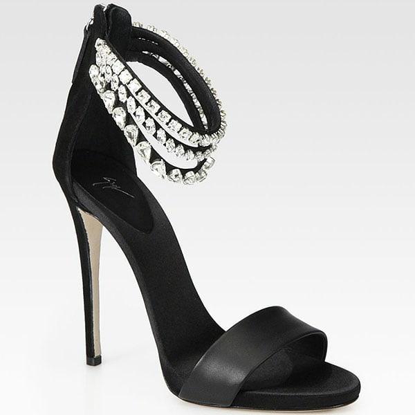 Giuseppe Zanotti Crystal-Encrusted Ankle-Strap Sandals