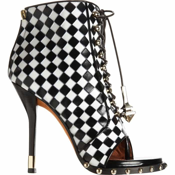 Givenchy Check-Embossed Lace-Up Ankle Boots
