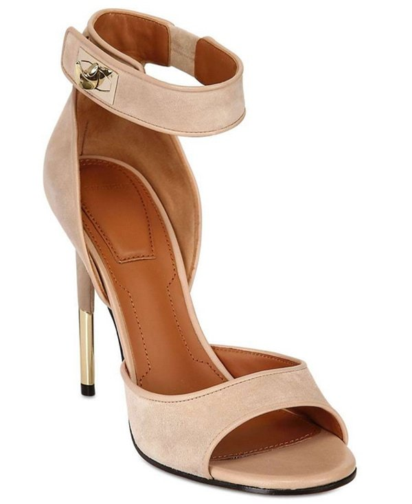 Givenchy Shark Lock Suede Sandals in Blush