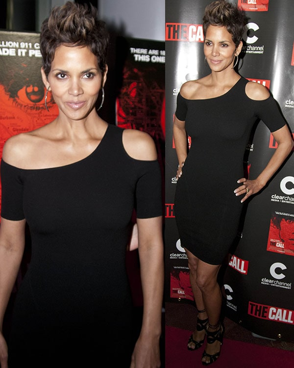 Halle Berry in a sexy little black dress at the Chicago screening of The Call
