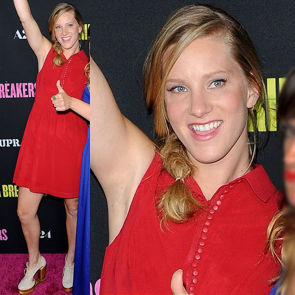 Heather Morris flaunted her legs at the 'Spring Breakers' premiere held at ArcLight Cinemas in Hollywood on March 14, 2013