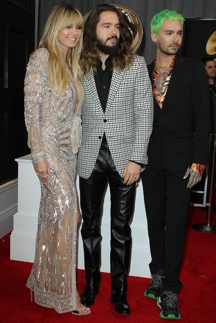 Heidi Klum with her husband Tom Kaulitz and Tom's twin brother Bill at the 2020 Grammy Awards