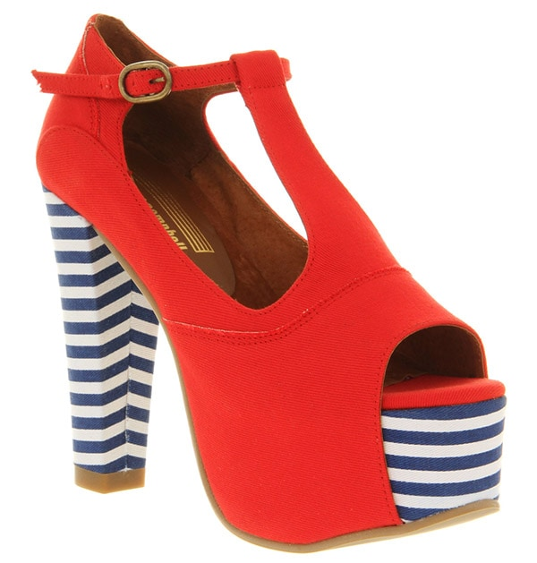 Jeffrey Campbell Foxy heel platform red canvas stripe