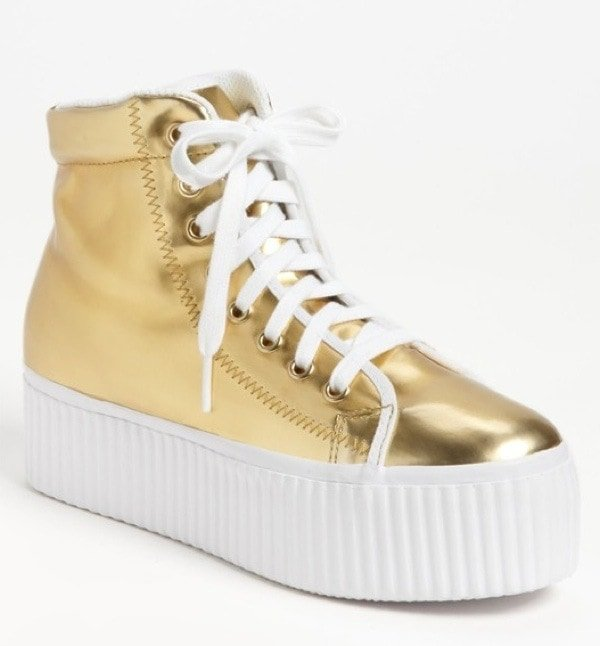 Jeffrey Campbell 'Hiya' Sneaker in Gold, $79.95