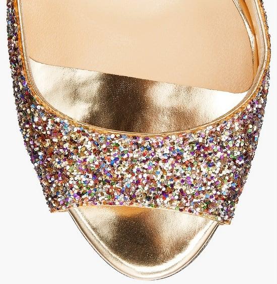 Jimmy Choo Biel Coarse Glitter Fabric Peep Toe Wedges