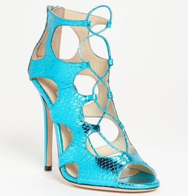 Jimmy Choo Diffuse Sandals in Snakeskin Turquoise
