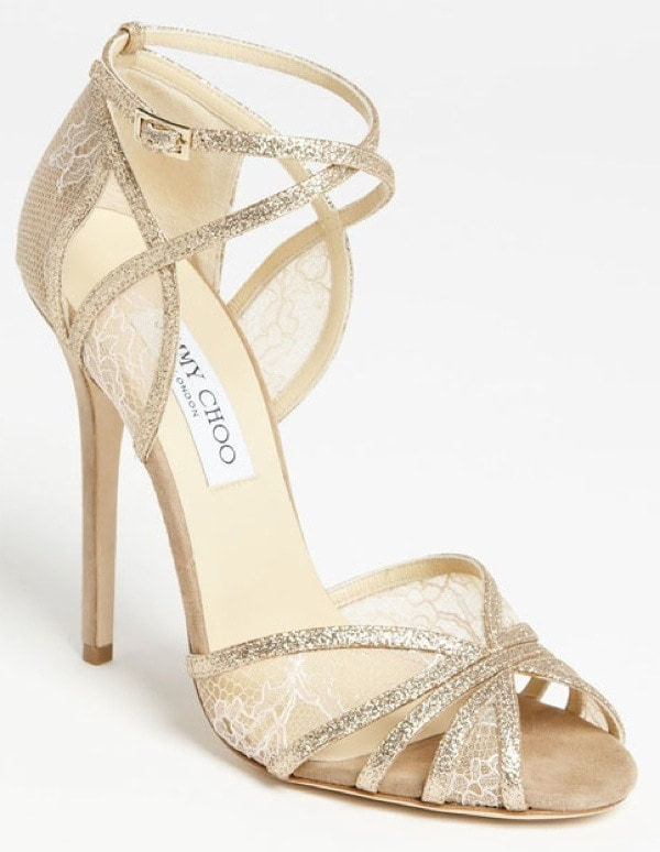 """Gold Jimmy Choo """"Fitch"""" Sandals"""