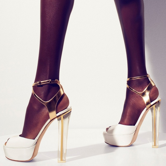 Jimmy Choo Lolita White Patent Leather Platform Sandal with Mirrored Gold Ankle Strap
