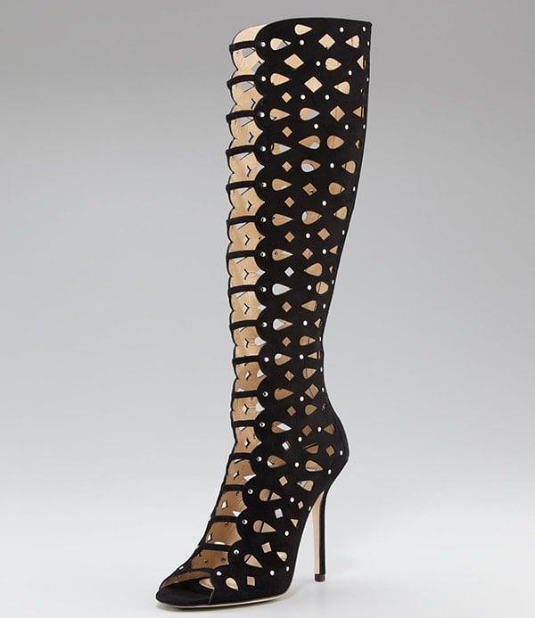 Jimmy Choo Studded Cutout Knee-High Boots