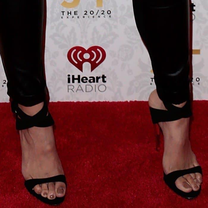 Jordin Sparks wearing  Giuseppe Zanotti metal-heeled suede sandals
