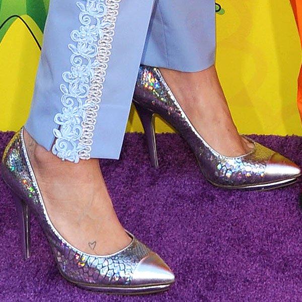 Kesha silver cap toe pumps