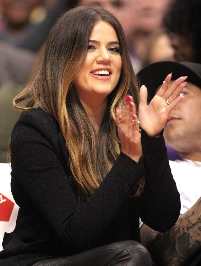 Khloe Kardashian wearing J Brand stretch leather leggings