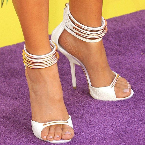 Khloe Kardashian Giuseppe Zanotti gold tube sandals