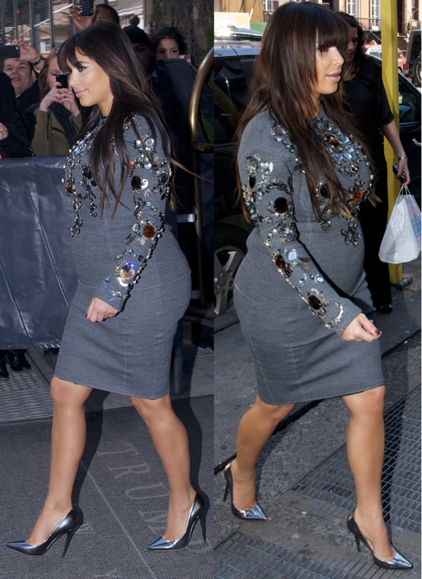 Pregnant Kim Kardashian seen at The Derby restaurant and departing her NYC hotel on March 27, 2013