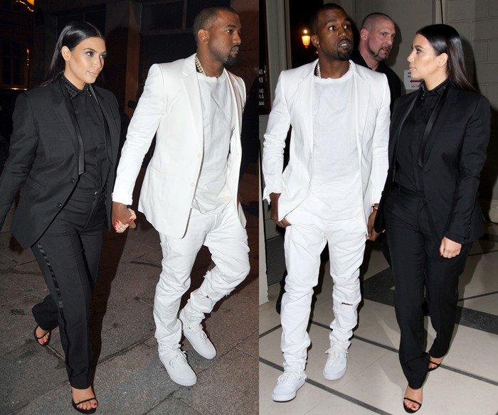 Kim Kardashian and Kanye West wear black and white ensembles in Paris