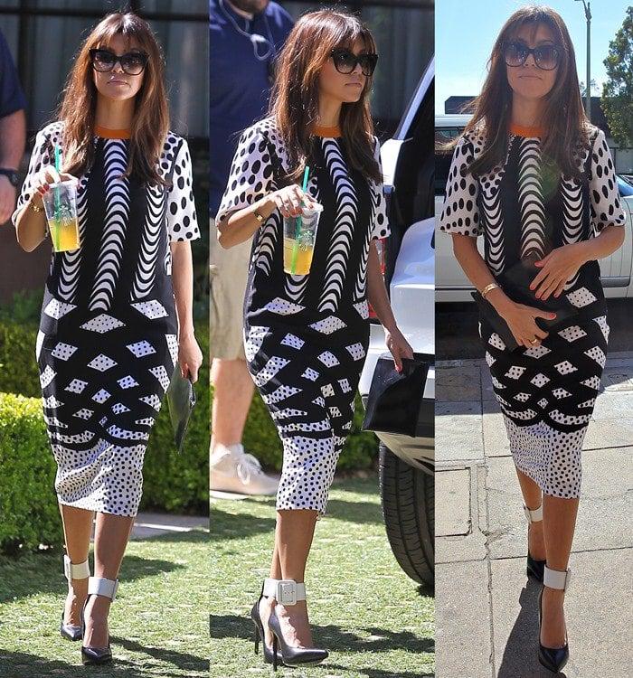 Kourtney Kardashian in Black and White Midi Dress