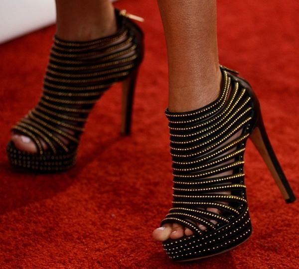 Kristin Chenoweth's feet in studded black Christian Dior cage heels