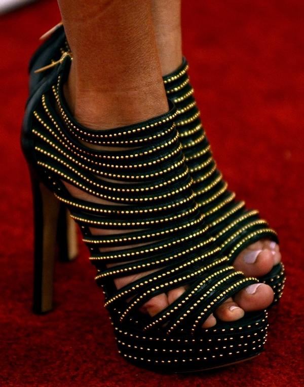 Kristin Chenoweth's feet in studded black Christian Dior platforms