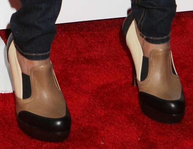 Kristin Chenoweth's color-block booties