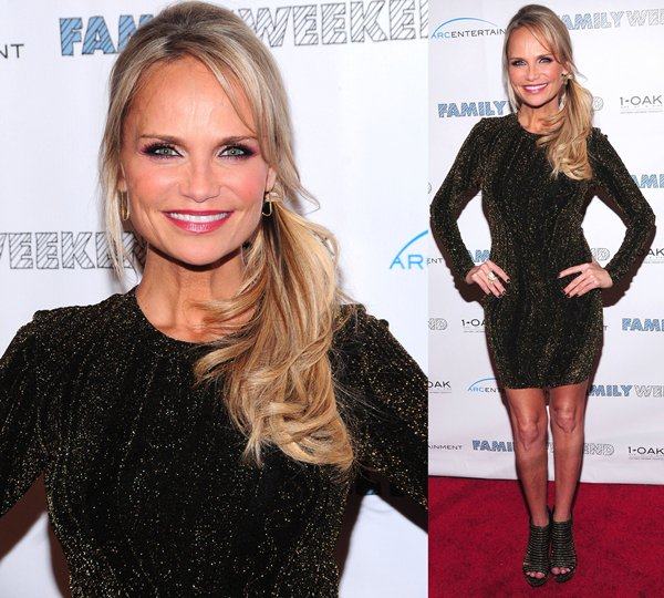 Kristin Chenoweth wears a side pony and Torn dress on the red carpet