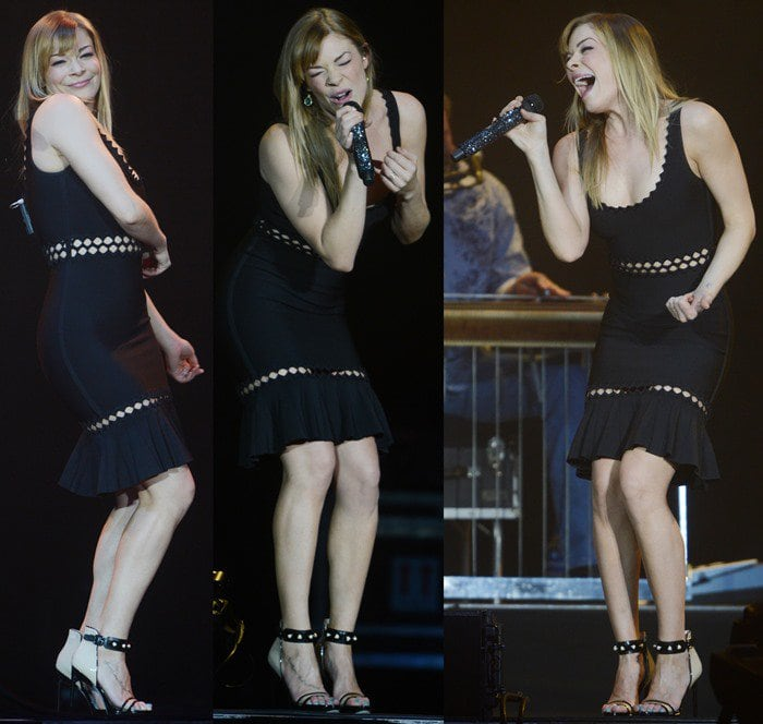 LeaAnn Rimes pairs pearl-studded sandals with a Hervé Léger dress on stage