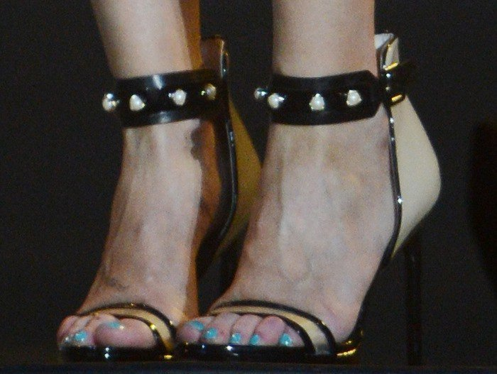 "LeAnn Rimes's feet in black pearl-embellished ""Nadja"" sandals"