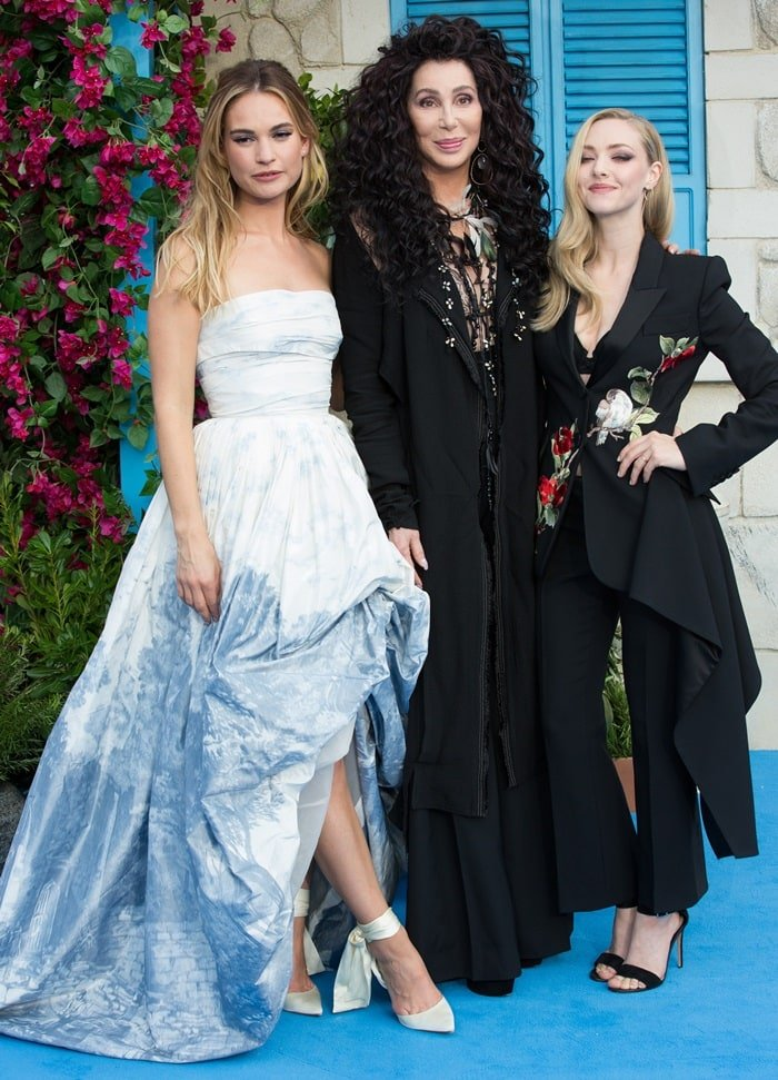 Lily James, Cher, and Amanda Seyfried at the world premiere of their anticipated film Mamma Mia! Here We Go Again