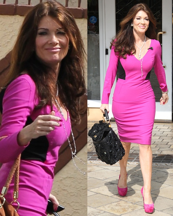 Lisa Vanderpump in a pink long-sleeved, body-fitting, and knee-length dress
