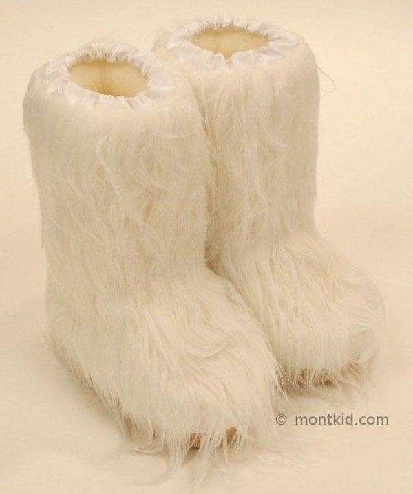Luis Children's White Fur Boots