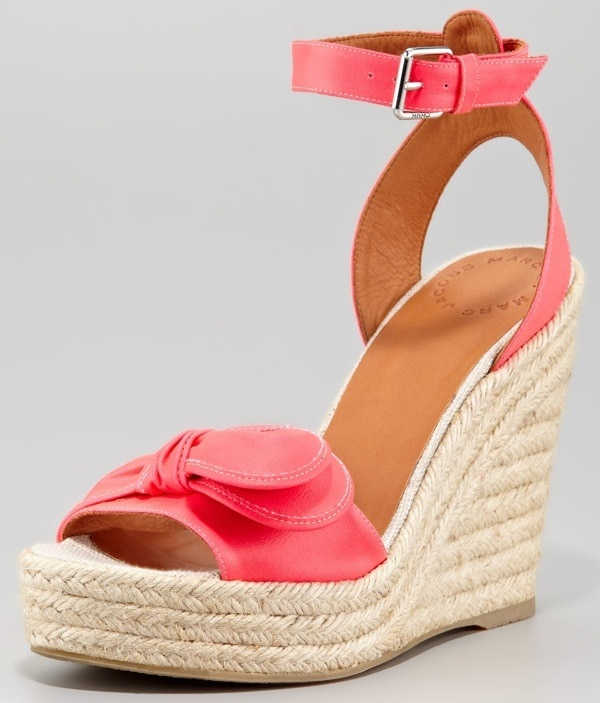 MARC by Marc Jacobs Pretty Knot Neon Canvas Wedge Sandal, Pink $228.00