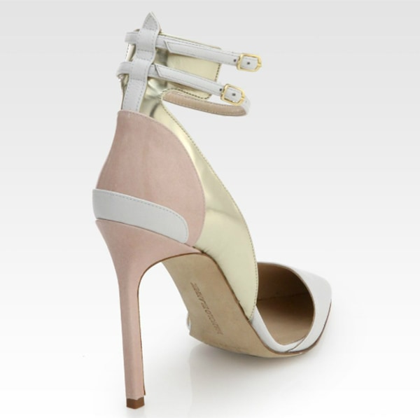 Manolo Blahnik Misto Leather Ankle Strap Pumps