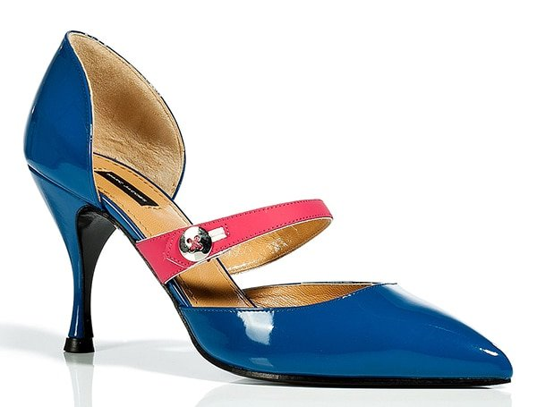 Marc Jacobs Blue Sahara/Pink Patent Leather Mary Janes