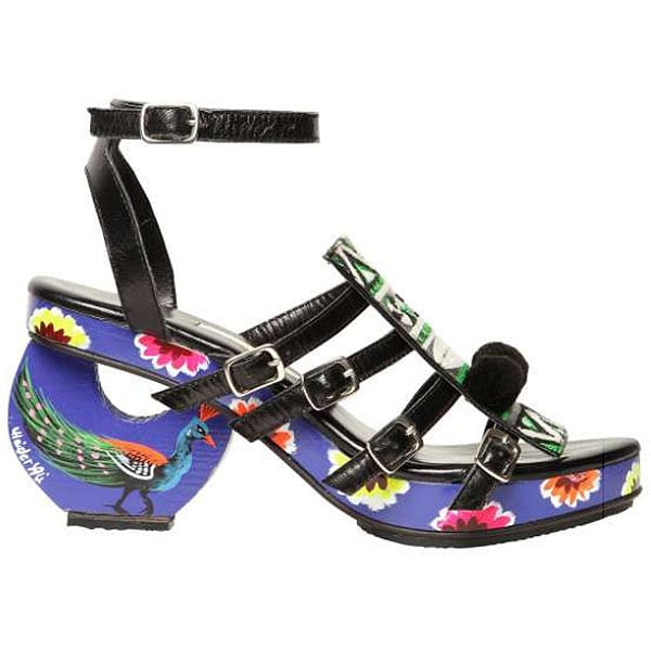 Meher Kakalia embroidered calf and wood sandals