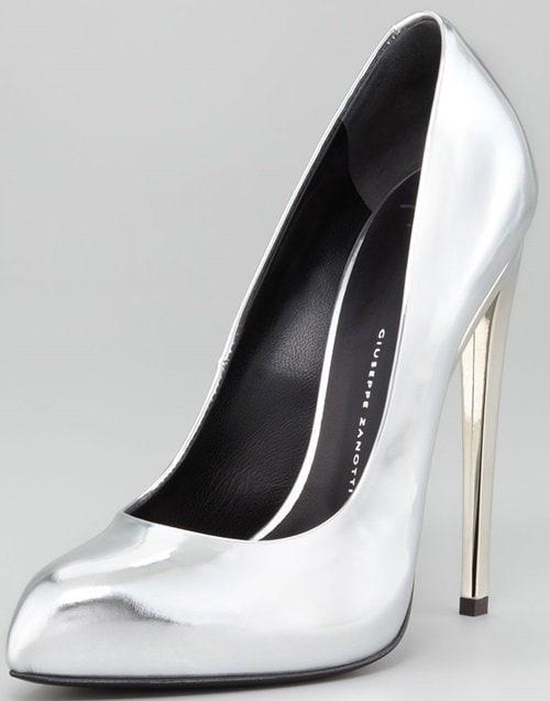 giuseppe zanotti mirror heel pump silver
