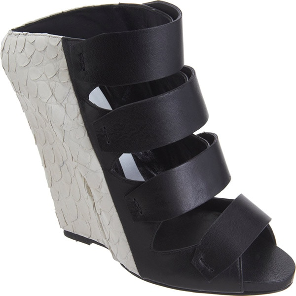 Narciso Rodriguez Bi-Color Multi-Strap Wedge Sandal