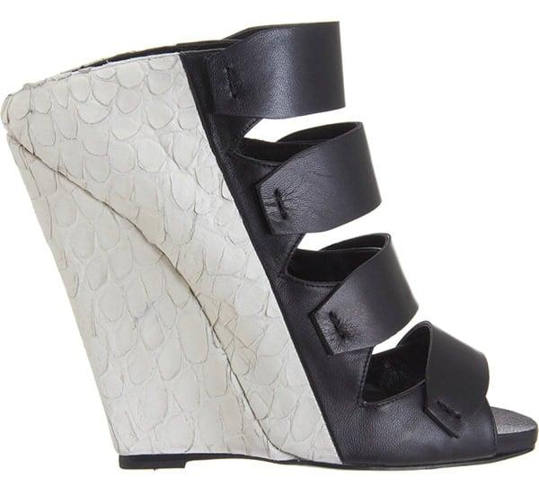 Narciso Rodriguez Bi-Color Multi-Strap Wedge Sandal1